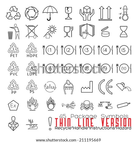 Collection of 45 Packaging Symbols(recycle, handle, instructions, hazard). Thin Line Version. - stock photo