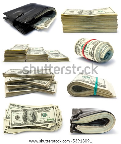 Collection of packs of dollars isolated  on white background - stock photo