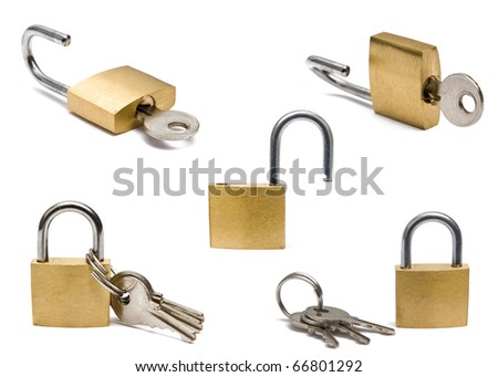 Collection of padlocks on white background