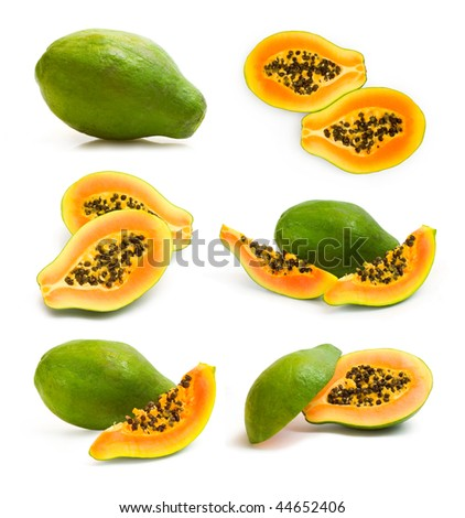 collection of papaya images - stock photo