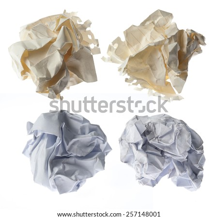 collection of paper ball on white background