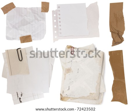 collection of paper notes with sticky tapes - stock photo