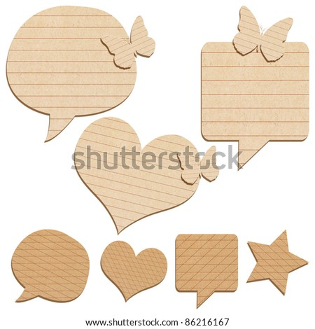 collection of paper talk icon created by recycled paper craft isolate on white background
