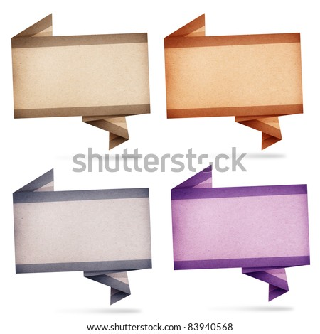 collection of paper talk origami created by recycled paper craft isolate on white background