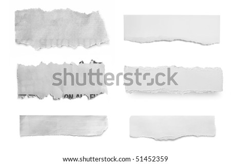 Collection of paper tears, ready for your message. - stock photo