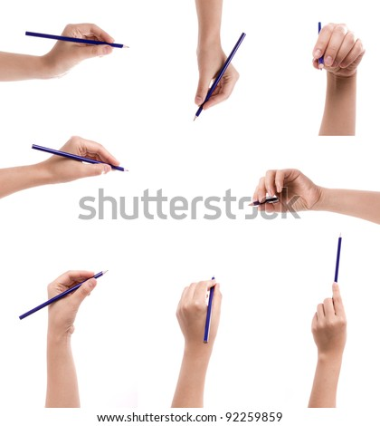 Collection of pencil in a hand isolated on a white background - stock photo