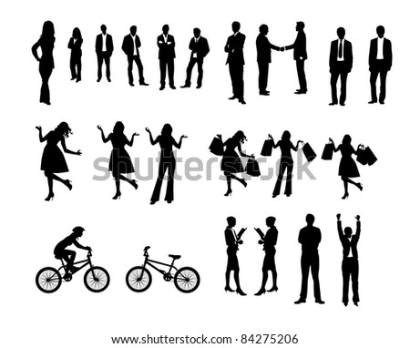 Collection of people silhouettes - stock photo