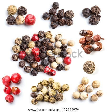 Collection of peppercorn in white background - stock photo
