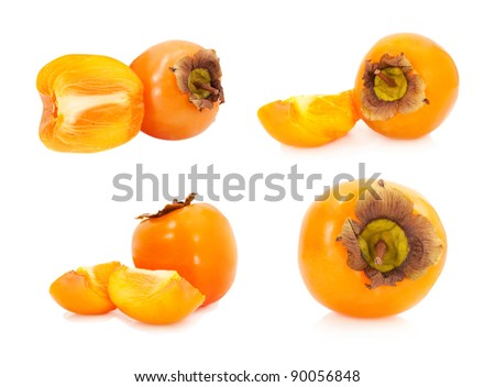 collection of persimmons isolated on white background - stock photo
