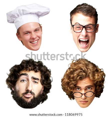 collection of person faces over white background - stock photo
