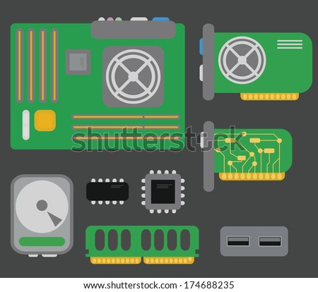 collection of personal computer parts: motherboard, video card, hard drive, network card, usb connector, coolers, chips, isolated on grey background - stock photo