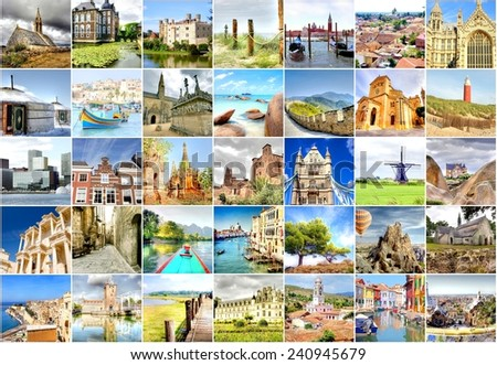 collection of photo's with travel destinations from all over the world   - stock photo