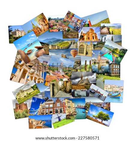 collection of photo's with travel destinations from all over the world isolated on a white background - stock photo