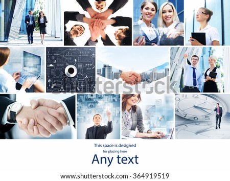 Collection of photos about business with handshakes, office workers and business innovation with copy space. - stock photo