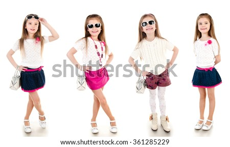Collection of photos adorable happy little girl isolated on a white - stock photo