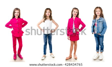 Collection of photos adorable smiling little girl isolated on a white