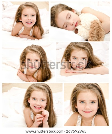 Collection of photos adorable smiling little girl waked up in her bed  - stock photo