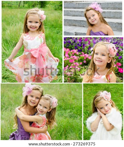 Collection of photos adorable smiling little girls in princess dress in summer day  - stock photo