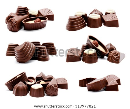 Collection of photos assortment of chocolate candies isolated on a white background - stock photo