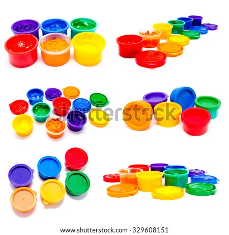 Collection of photos children finger paint isolated on a white