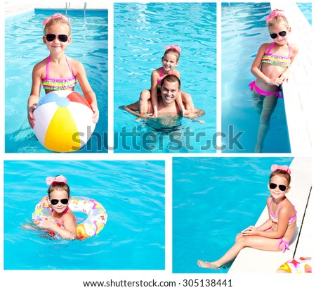 Collection of photos family having fan on summer vacation in swimming pool - stock photo