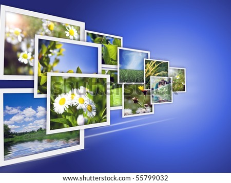 Collection of photos in move - stock photo