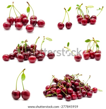 Collection of photos juicy ripe sweet cherry with leaf isolated on a white - stock photo