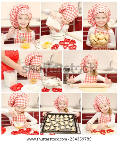 Collection of photos little girl cooking in the kitchen - stock photo