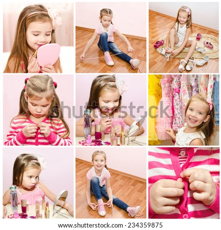 Collection of photos little girl with cosmetic and putting choes clothes   - stock photo