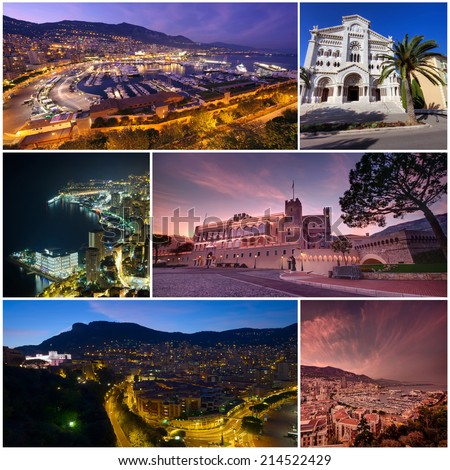collection of photos Monte Carlo Monaco - stock photo