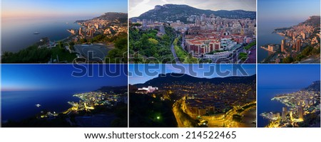 collection of photos Monte Carlo Monaco day and night - stock photo