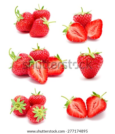 Collection of photos perfect ripe strawberry isolated on a white background - stock photo