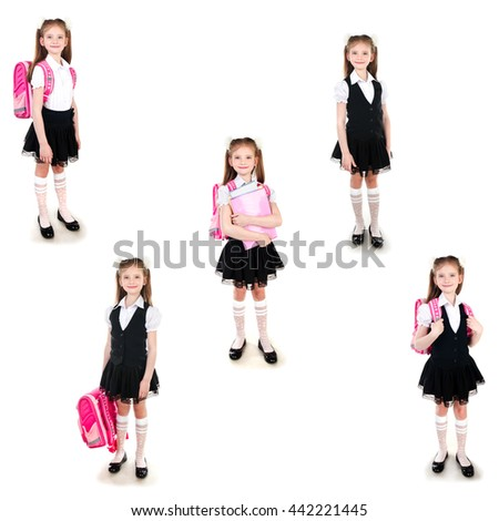 Collection of photos smiling schoolgirl in uniform with backpack and books isolated on a white background