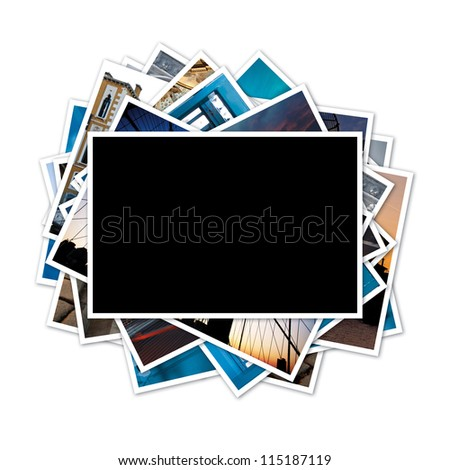 Collection of photos with blank frame in the middle on white background. Clipping path included. - stock photo