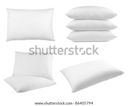 collection of  pillows on white background. each one is shot separately - stock photo