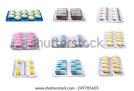 Collection of Pills in blister pack closeup - stock photo
