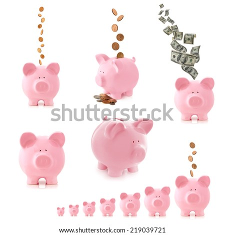 Collection of pink piggy banks, isolated on white.  With money, coins and notes. - stock photo