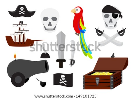 Collection of pirate illustrations isolated - stock photo