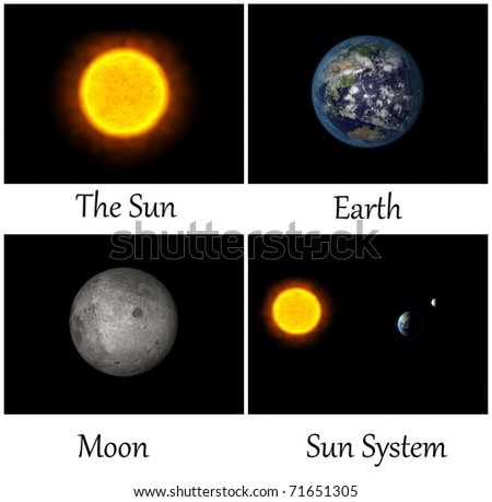 Collection of planet in Sun system - stock photo