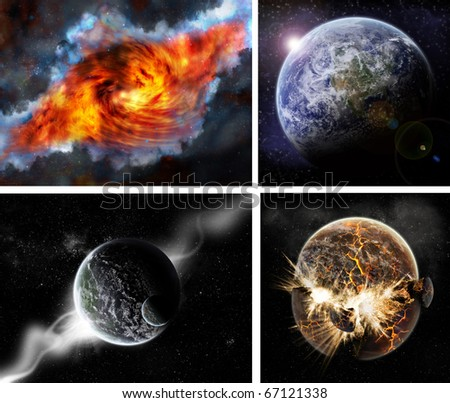 Collection of 4 planets background - stock photo