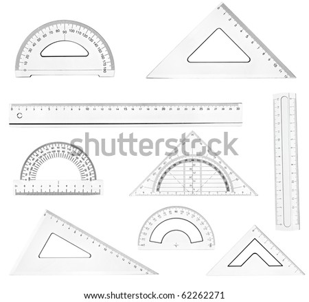 collection of plastic transparent rulers on white background. each one is in full cameras resolution - stock photo