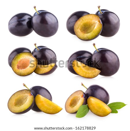 collection of 6 plum images - stock photo