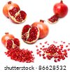collection of pomegranate on white background - stock photo