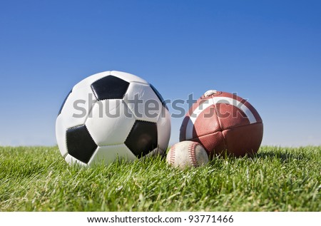 Collection of popular outdoor sports balls - stock photo