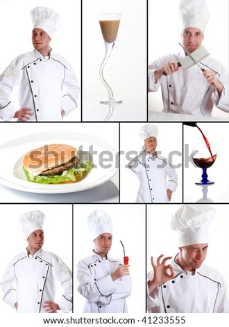 collection of portrait and food - stock photo