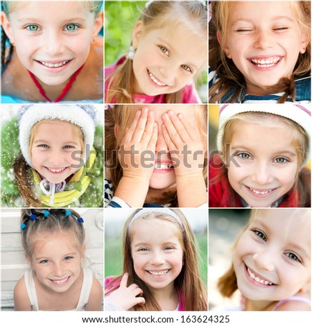 collection of portraits of a smiling little girl - stock photo