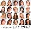 Collection of portraits of  smiling women of different ages - stock photo