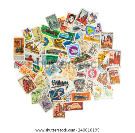 Collection of postage stamps of different USSR countries isolated on white - stock photo