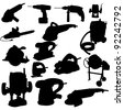 collection of power tool silhouette - stock vector