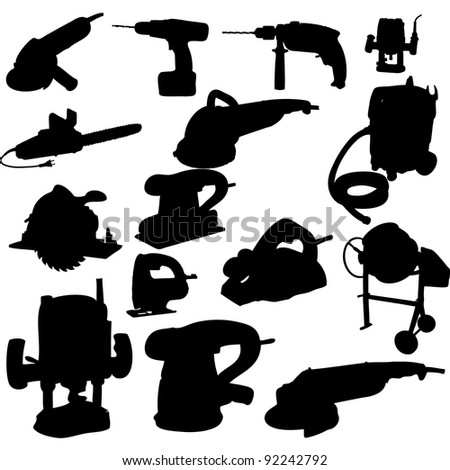 collection of power tool silhouette - stock photo